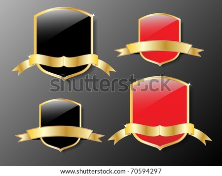red and black shields with golden frame. - stock vector