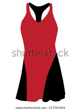 Red and black sport dress for girl, tennis dress, tennis wear, sports clothing - stock vector