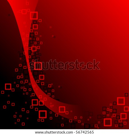 red and black squares composition, abstract vector art illustration - stock vector