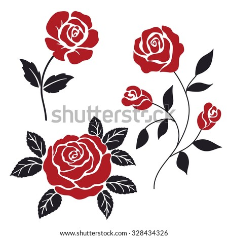 red and black stylization roses - stock vector