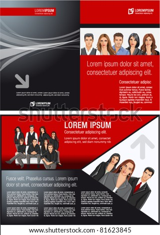Red and black template for advertising brochure with business people - stock vector