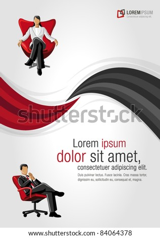 Red and black template for advertising brochure with business people on chair - stock vector