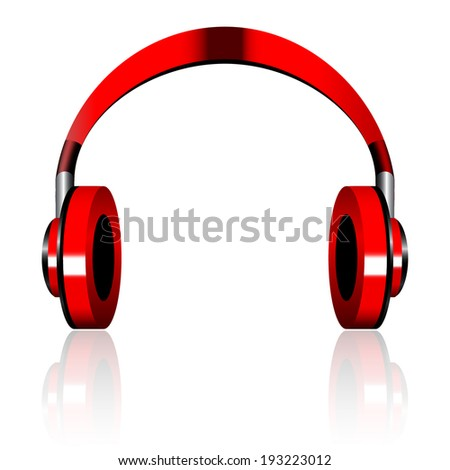red and black wireless headphones isolated on white background  - stock vector