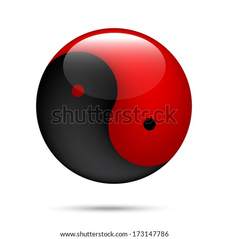 red and black Yin Yang on white - stock vector