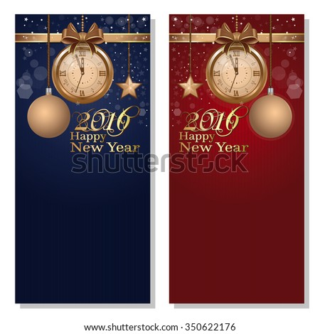 Red and blue background with clock and Christmas decorations. Happy New Year 2016. Vector flyer template. - stock vector