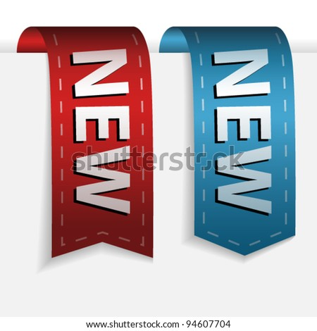 Red and blue bookmark with word new - stock vector