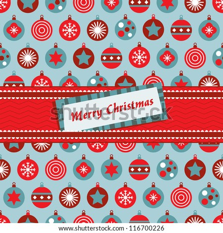 red and blue christmas bauble wrapping with ribbon and message tag - stock vector