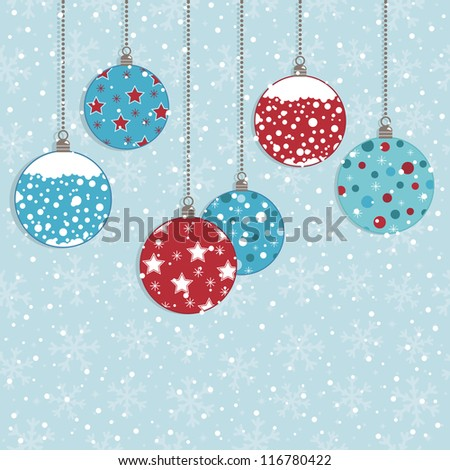 red and blue christmas hanging decorations on snowflake background, with copy space - stock vector