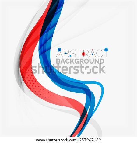 Red and blue color swirl concept, abstract background - stock vector