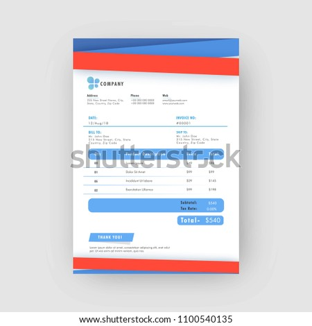 Red Blue Corporate Invoice Estimate Template Stock Vector 1100540135