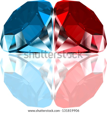 Red and blue diamonds. Vector - stock vector