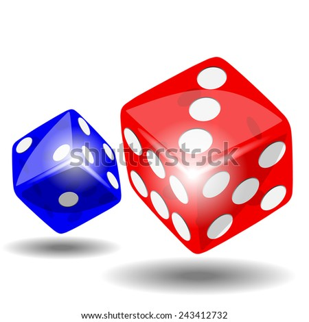 Red and blue dice with shadow on white background illustration vector - stock vector