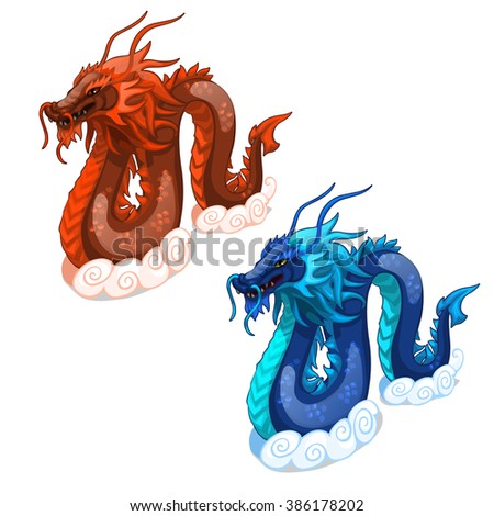 Red and blue dragons. Vector illustration.