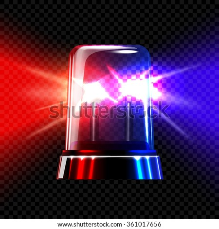 Red and blue emergency transparent flashing siren on dark plaid background. Vector - stock vector