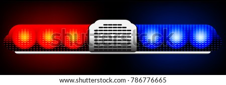 Red And Blue Flashing Lights Of The Police Car Graphic Vector