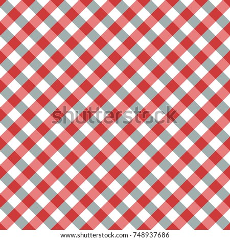 Red and Blue Gingham tablecloth pattern. Seamless Diagonal Rhombus/Squares Texture