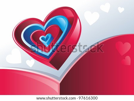 Red and blue hearts inserted one into another on gray background - stock vector