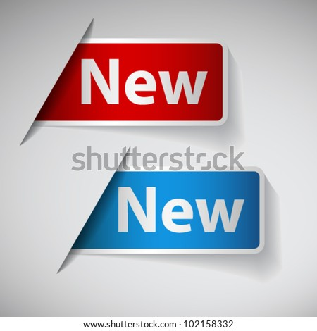 Red and blue label with word new - stock vector