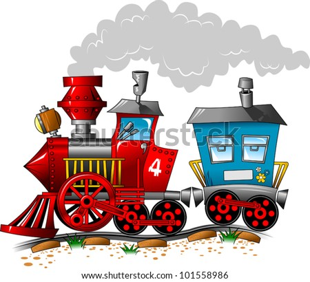 Red and blue locomotive carriage ride by rail (vector illustration); - stock vector