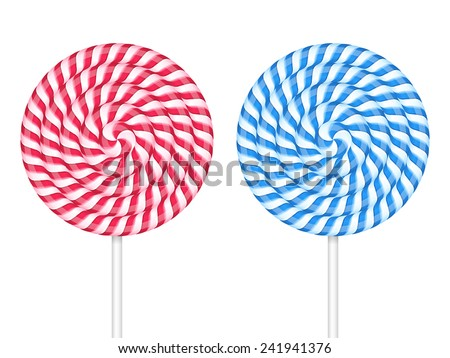 Red and blue lollipops on white background, vector eps10 illustration - stock vector