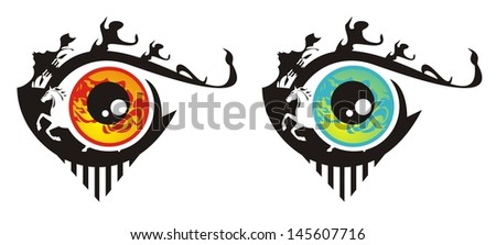 Red and blue monster eyes in the form of fish - stock vector