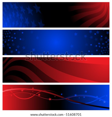 Red and blue patriotic banners for America - stock vector