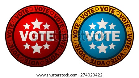 Red and Blue Round Vote Signs, Vector Illustration.  - stock vector