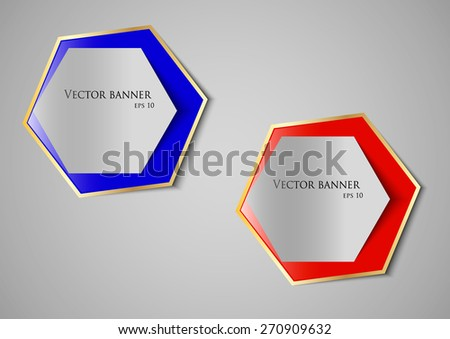 red and blue vector banner on a gray background  - stock vector