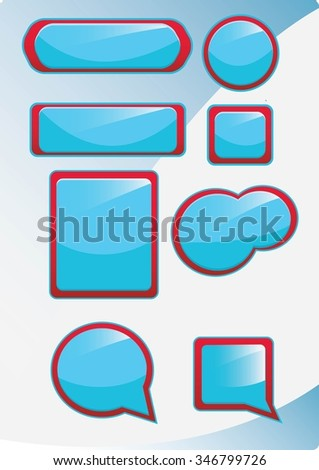 Red and blue web button for website or app. Vector button