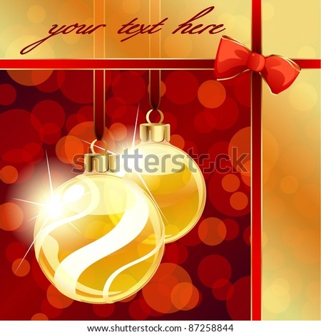 Red and gold banner with Christmas ornaments (eps10);  jpg version also available - stock vector