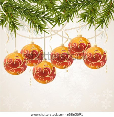 red and gold Christmas ball on New year tree, vector illustration - stock vector