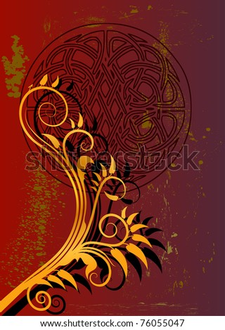red and gold floral background design - stock vector
