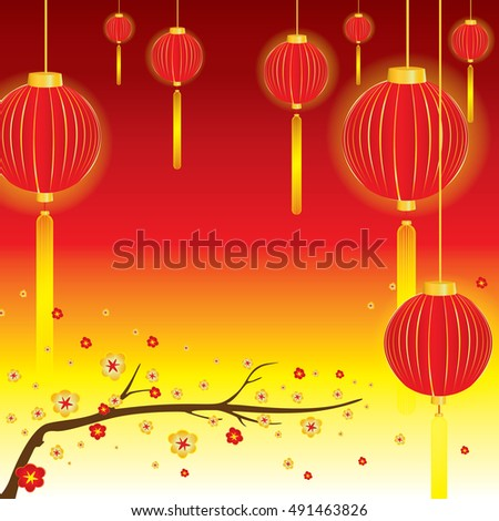 Red and gold flowers in blossom and red lamp in spring on red background.
