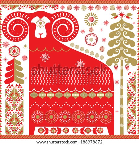 Red and gold ram sheep in decorative style, Chinese symbol of new year. Vector EPS 10 illustration.  - stock vector