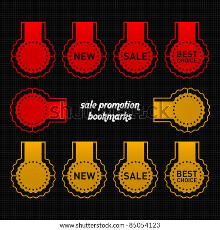 red and gold sale bookmarks - stock vector