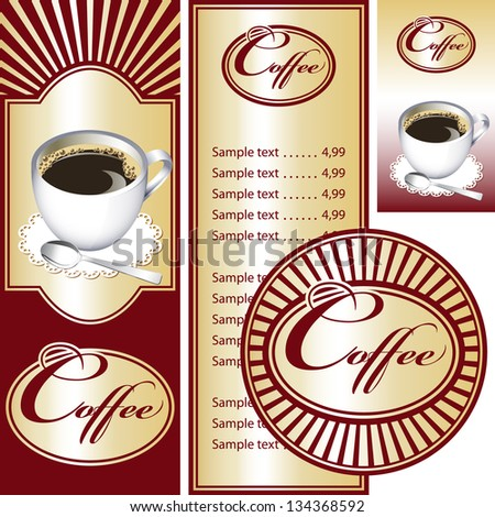 Red and gold set for the cafe menu, business card and coasters for drinks. All elements are grouped. Vector images for easy editing. - stock vector