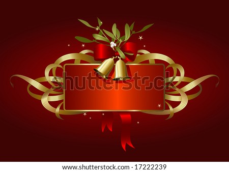 red and golden christmas-banner with bells, bow and mistletoe - stock vector