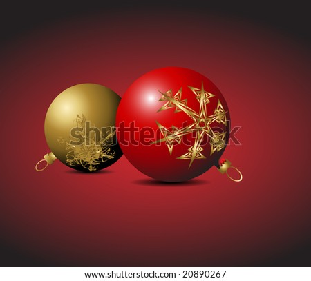 Red and golden Christmas bulbs with snowflakes ornaments