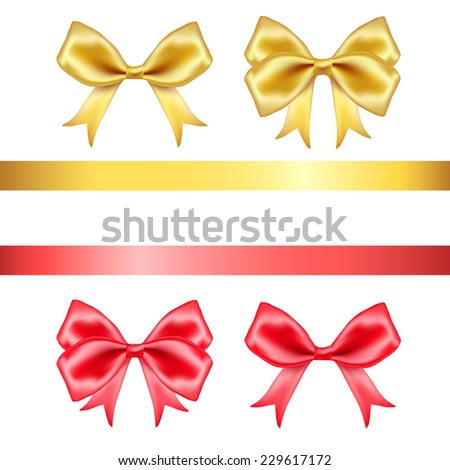 Red and golden silk  bows and ribbons set on white background. Vector illustration - stock vector