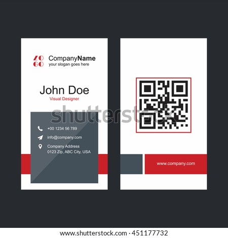 Red gray business card barcode stock vector royalty free 451177732 red and gray business card with barcode colourmoves