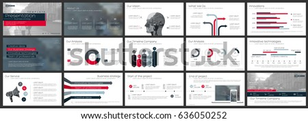 Red and gray elements of infographics on a white background. Use in presentation templates, flyer and leaflet, corporate report, marketing, advertising, annual report and banner.