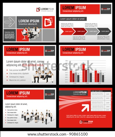 Red and gray template for advertising brochure with business people - stock vector