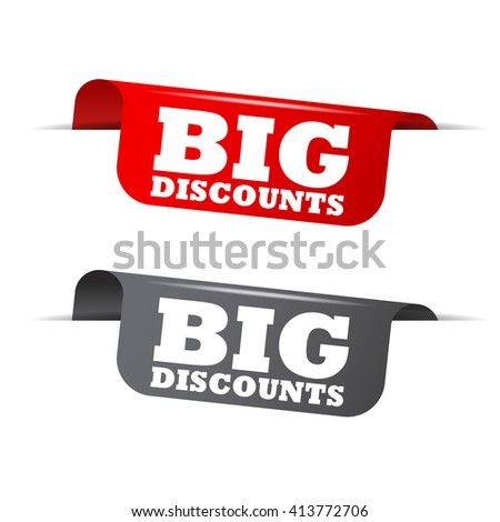 Red and gray vector illustration isolated sticker banner big discounts two versions. This element is well adapted to web design. - stock vector
