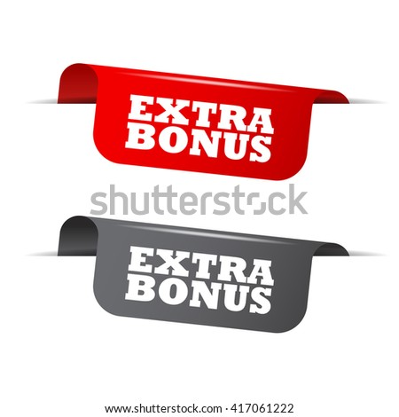 Red and gray vector illustration isolated sticker banner extra bonus two versions. This element is well adapted to web design. - stock vector