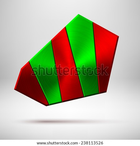 Red and green abstract geometric badge, blank button template with metal texture (chrome, silver, steel), realistic shadow and light background for user interfaces, UI, applications and apps. Vector. - stock vector