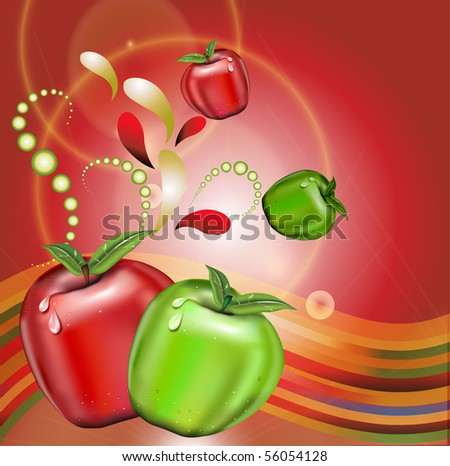 Red and green apples on colorful background