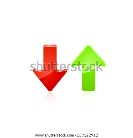 Red and green arrow. Vector - stock vector
