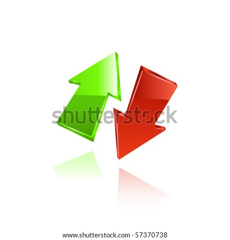 Red and green arrows. Vector