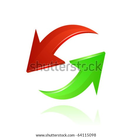 Red and green arrows. Vector - stock vector