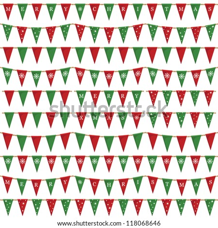 red and green christmas bunting pack, isolated on white - stock vector